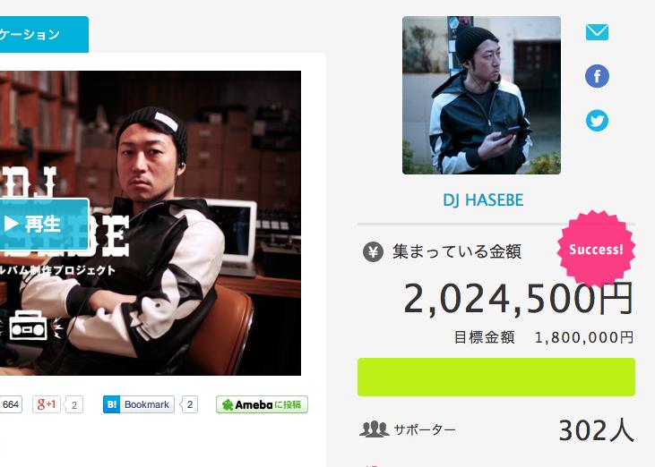 DJ HASEBEのクラウドファンディングは200万円以上を集め成立